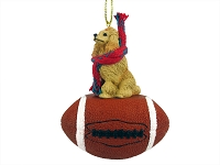 Poodle Apricot Football Ornament
