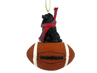 Poodle Black Football Ornament