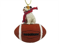 Bulldog White Football Ornament