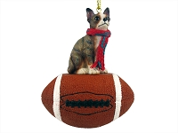 Chihuahua Brindle & White Football Ornament
