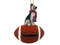 German Shepherd Black & Silver Football Ornament