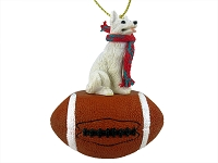 German Shepherd White Football Ornament