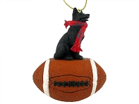 German Shepherd Black Football Ornament
