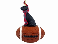 Great Dane Black w/Uncropped Ears Football Ornament