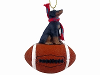 Doberman Pinscher Black w/Uncropped Ears Football Ornament