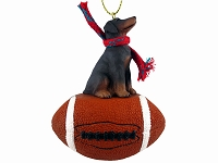 Doberman Pinscher Red w/Uncropped Ears Football Ornament