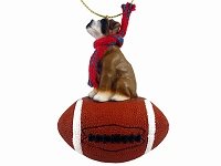 Boxer w/Uncropped Ears Football Ornament