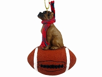 Boxer Tawny w/Uncropped Ears Football Ornament