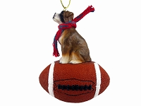 Boxer Brindle w/Uncropped Ears Football Ornament