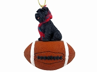 Schnauzer Black w/Uncropped Ears Football Ornament