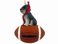 Schnauzer Gray w/Uncropped Ears Football Ornament