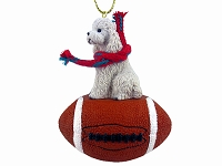 Poodle White w/Sport Cut Football Ornament
