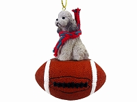 Poodle Gray w/Sport Cut Football Ornament