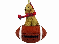 Poodle Apricot w/Sport Cut Football Ornament