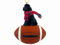 Poodle Black w/Sport Cut Football Ornament