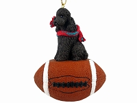 Poodle Chocolate w/Sport Cut Football Ornament