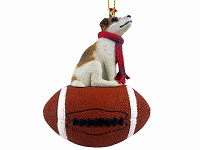 Jack Russell Terrier Brown & White w/Smooth Coat Football Ornament
