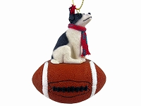 Jack Russell Terrier Black & White w/Smooth Coat Football Ornament