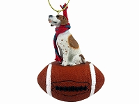 Pointer Brown & White Football Ornament