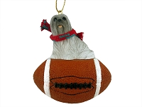 Lhasa Apso Gray Football Ornament