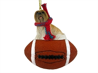Lhasa Apso Brown Football Ornament
