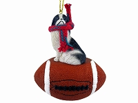 Japanese Chin Black & White Football Ornament