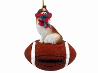 Japanese Chin Red & White Football Ornament