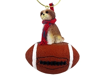 Shih Tzu Tan w/Sport Cut Football Ornament