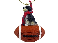 Shih Tzu Black & White w/Sport Cut Football Ornament