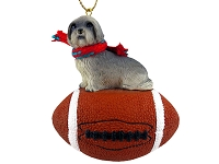 Lhasa Apso Gray w/Sport Cut Football Ornament
