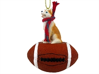 Husky Red & White w/Blue Eyes Football Ornament