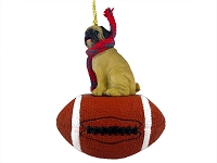 Pug Fawn Football Ornament