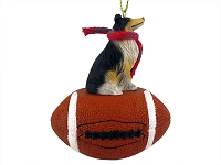 Collie Tricolor Football Ornament
