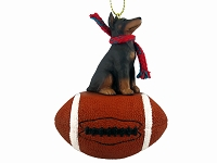 Doberman Pinscher Red w/Cropped Football Ornament