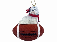 Shih Tzu White Football Ornament