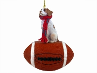 Brittany Brown & White Spaniel Football Ornament