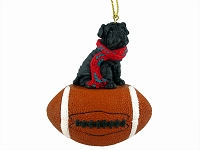 Shar Pei Black Football Ornament