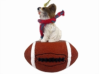 Papillon Brown & White Football Ornament