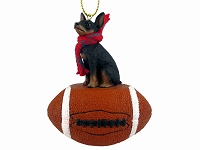 Miniature Pinscher Tan & Black Football Ornament