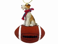 Wire Fox Terrier Red Football Ornament