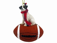 Jack Russell Terrier Brown & White w/Rough Coat Football Ornament