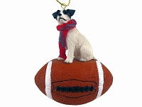 Jack Russell Terrier Black & White w/Rough Coat Football Ornament