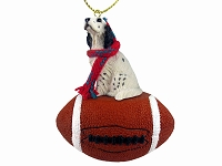 English Setter Belton Blue Football Ornament