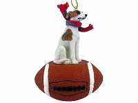 Whippet Brindle & White Football Ornament