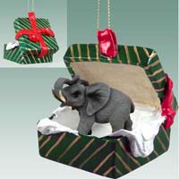 Elephant Gift Box Green Ornament