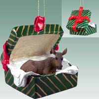 Moose Cow Gift Box Green Ornament