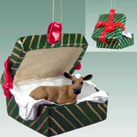 Guernsey Cow Gift Box Green Ornament