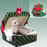 Ferret Gift Box Green Ornament
