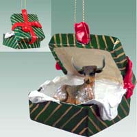 Long Horn Steer Gift Box Green Ornament