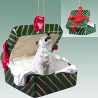 Wolf White Gift Box Green Ornament